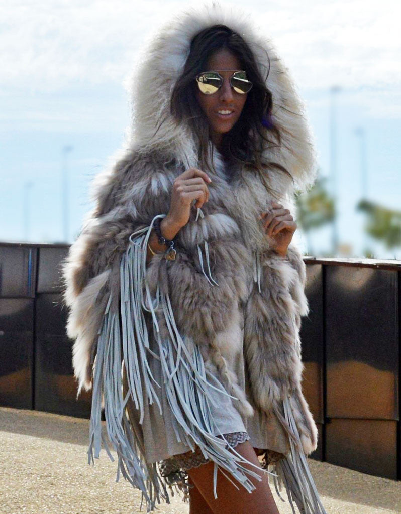 """The Emily"" Cream Fringe and Fur Hooded Poncho - SWANK - Outerwear - 3"