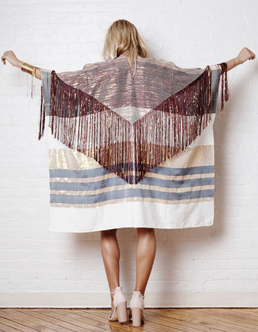 Harare Sucuc Fringe Long Kimono in Pink/White/Gold
