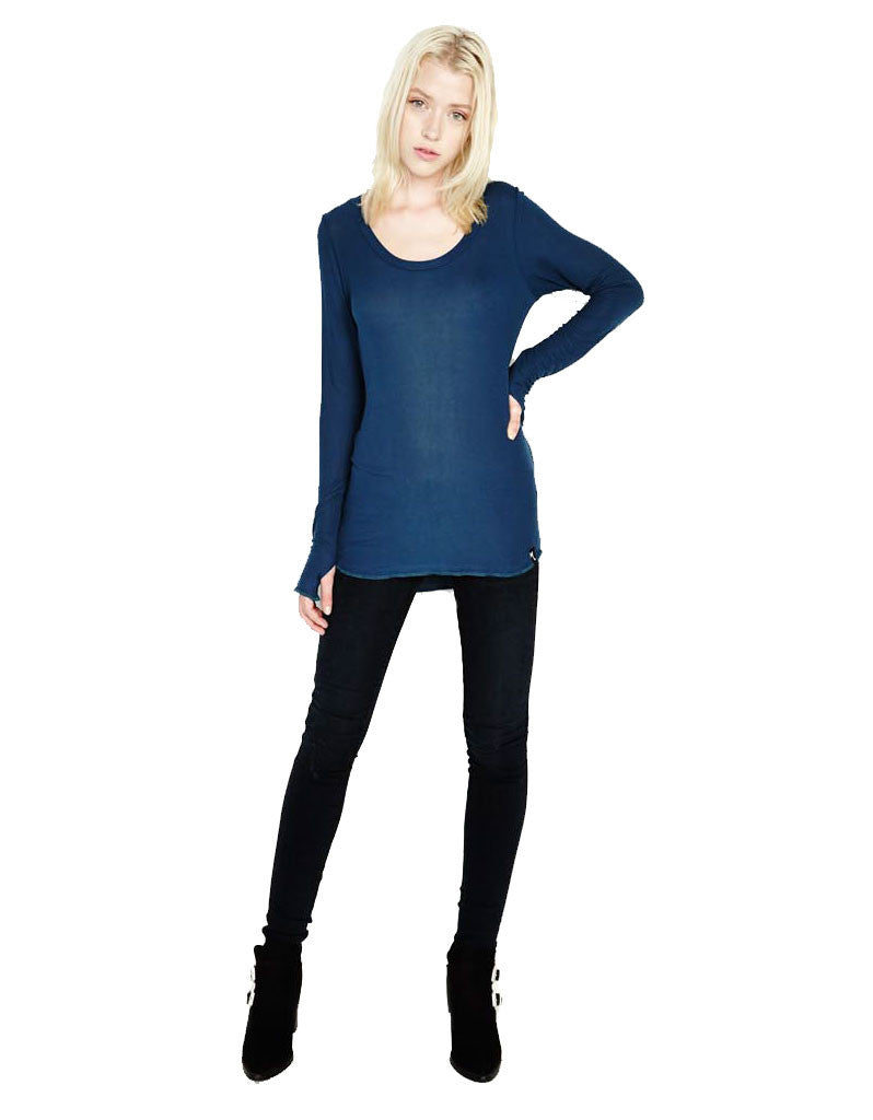 Michael Lauren Heller L/S Fitted Scoop Neck Top in Sea Blue - SWANK - Tops - 2