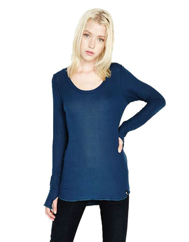 Michael Lauren Heller L/S Fitted Scoop Neck Top in Sea Blue