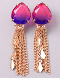 VINTAGE-SNOOT-STONE-TASSEL-EARRINGS-FUCHSIA-PURPLE