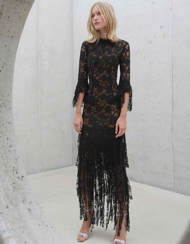 Alexis Jade Long Lace Dress w/ Lace Fringe in Black Lace