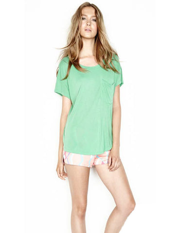 Michael Lauren Seven Tee with Slits in Spring Green