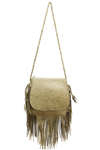 Jennifer Haley Jumbo Bohemian Bag in Olive Embossed Floral