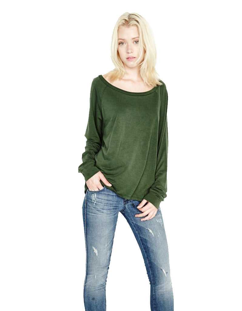 Michael Lauren Kelton L/S Crop Tee in Dark Moss and Navy - SWANK - Tops - 4