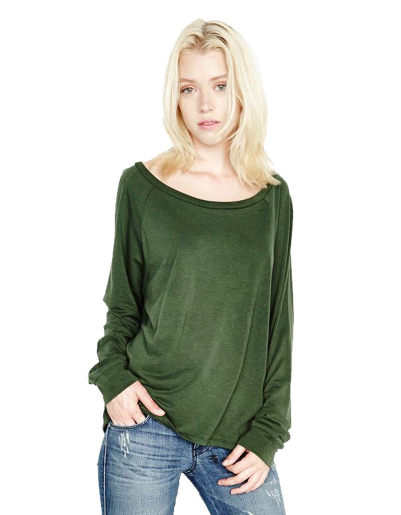 Michael Lauren Kelton L/S Crop Tee in Dark Moss and Navy - SWANK - Tops - 3