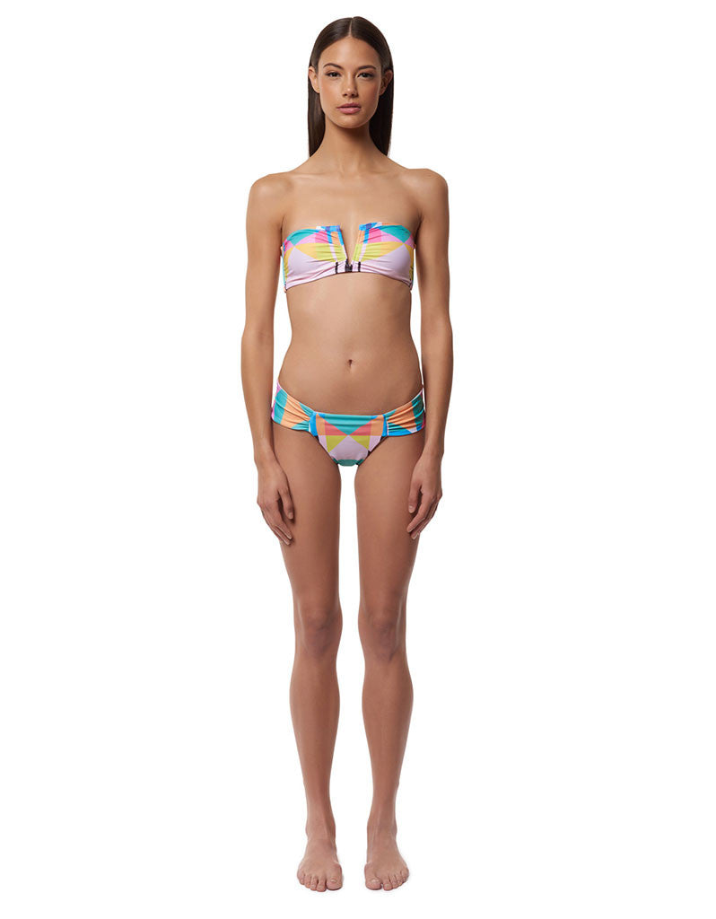 Mara Hoffman Diamond Side Ruched Swim Bottom in Aqua - SWANK - Swimwear - 6