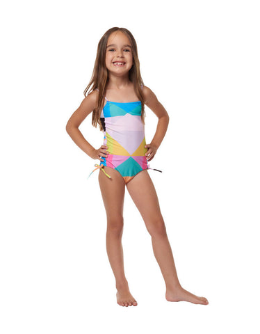 Mara Hoffman Kids Diamond Tie One Piece in Aqua
