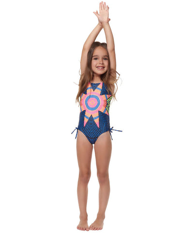 Mara Hoffman Samba Criss Cross Front One Piece in White Plum