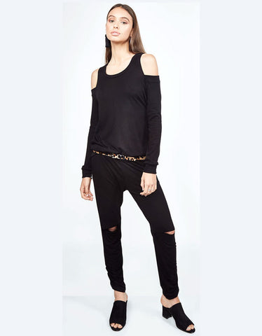 Michael Lauren Ox Open Shoulder Top in Black