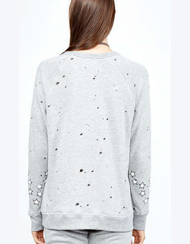 Michael Lauren Renzo Vintage Pullover w/Stars in Heather Grey
