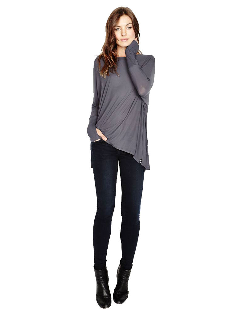 Michael Lauren Branson Draped Top with Thumbhole in Polar Grey - SWANK - Tops - 2