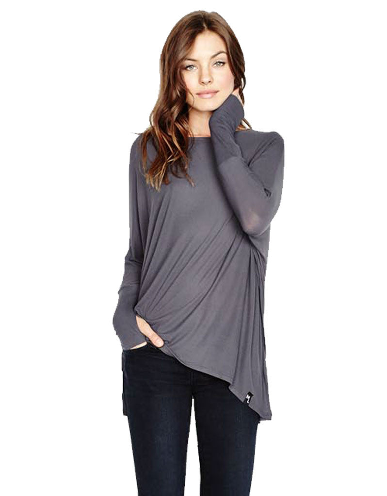 Michael Lauren Branson Draped Top with Thumbhole in Polar Grey - SWANK - Tops - 1