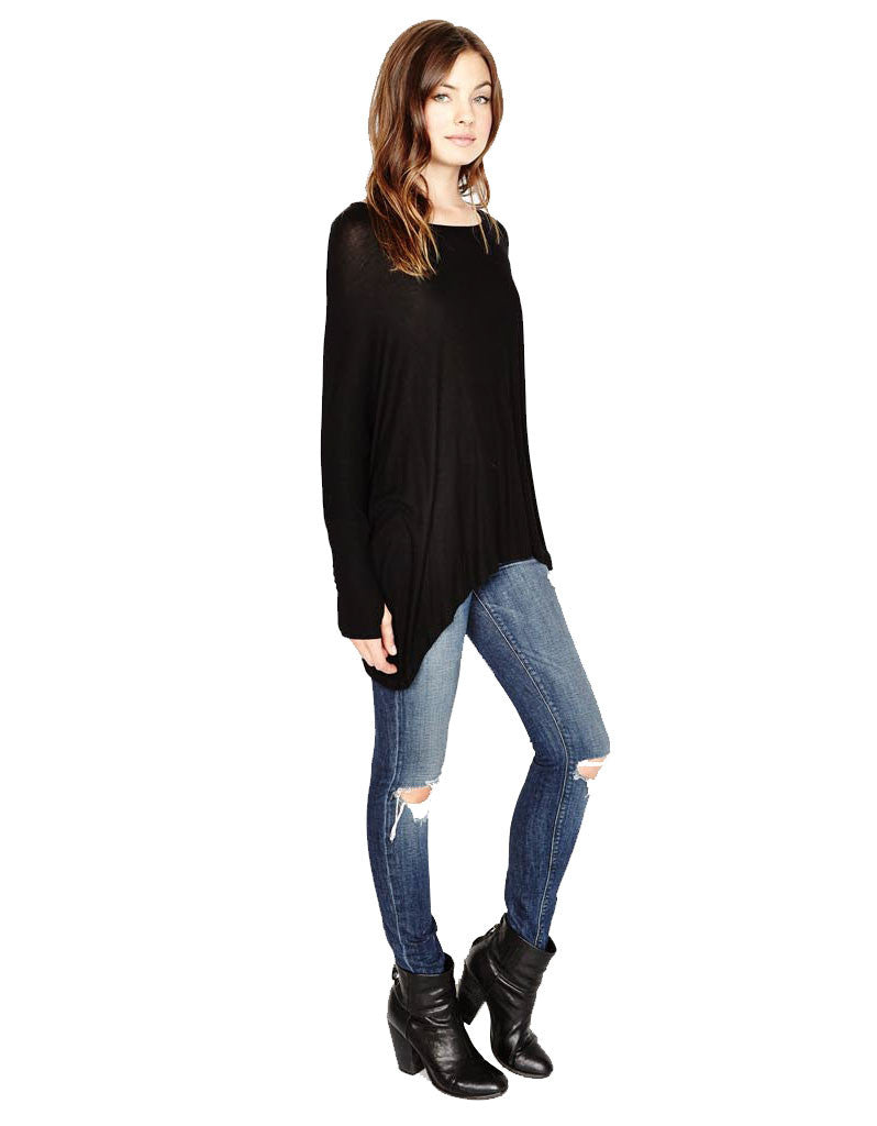 Michael Lauren Branson Draped Top with Thumbhole in Black - SWANK - Tops - 2