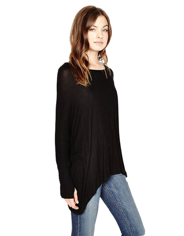 Michael Lauren Branson Draped Top with Thumbhole in Black
