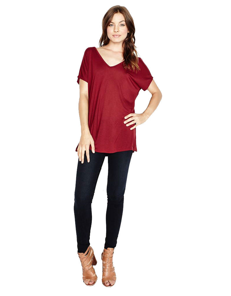 Michael Lauren Dov Oversized Double V-Neck Tee in Rouge - SWANK - Tops - 2