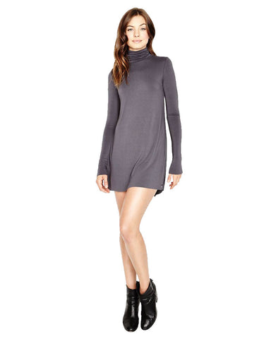 Michael Lauren Leo Turtleneck Mini Dress in Polar Grey