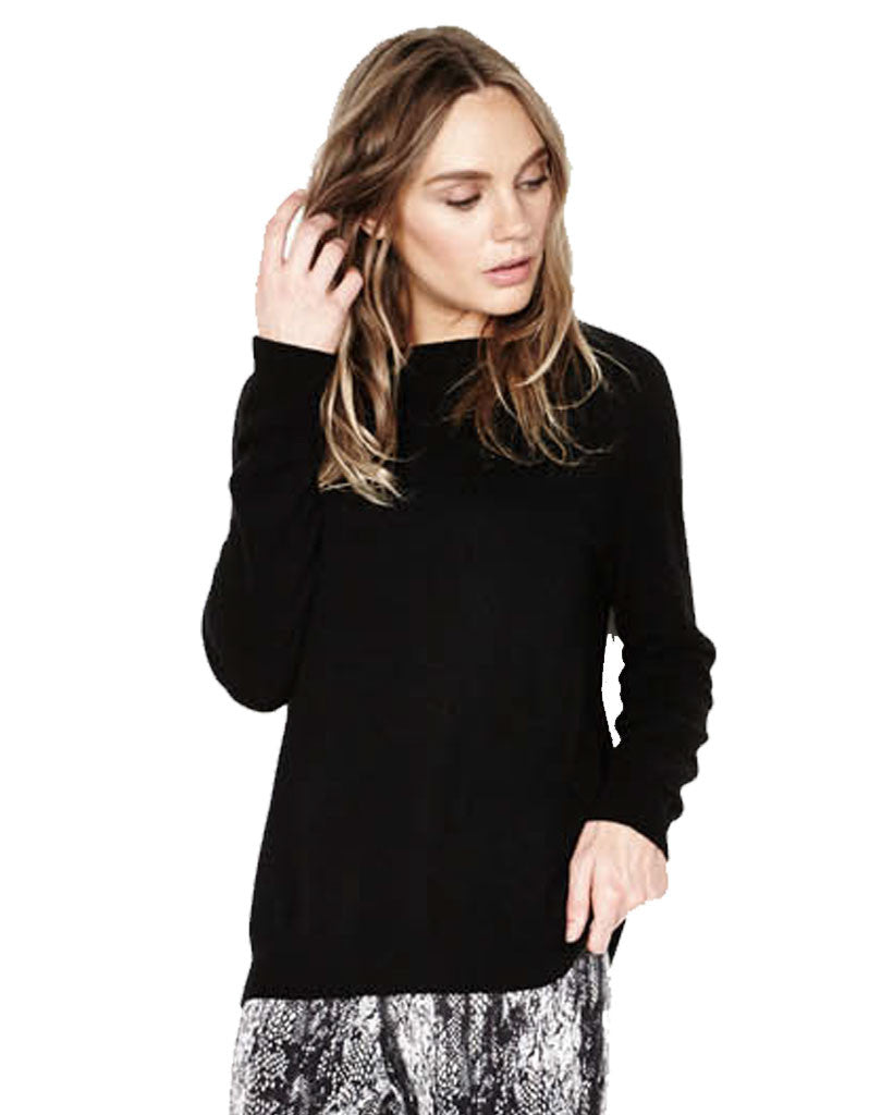 Michael Lauren Poppy Cashmere Sweater in Black - SWANK - Tops - 1