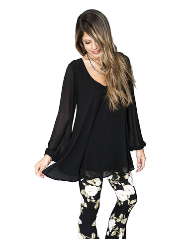 Show Me Your MuMu Donna Michelle Tunic in Black Chiffon