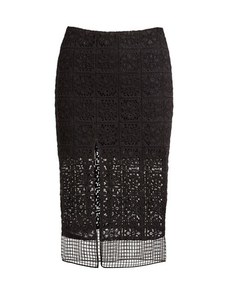 Alexis Oli Skirt w/Slits in Black Organza Lace Embroidery - SWANK - Skirts - 2