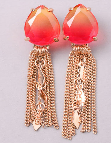 Vintage Snoot Stone Tassel Earrings in Red