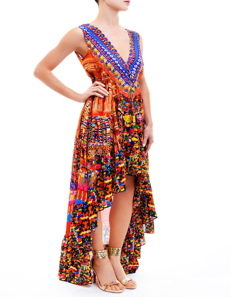 Shahida Parides V-Neck Embellished Hi-Low Dress in Heritage - SWANK - Dresses - 1