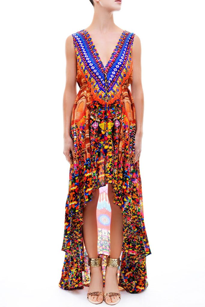 Shahida Parides V-Neck Embellished Hi-Low Dress in Heritage - SWANK - Dresses - 2