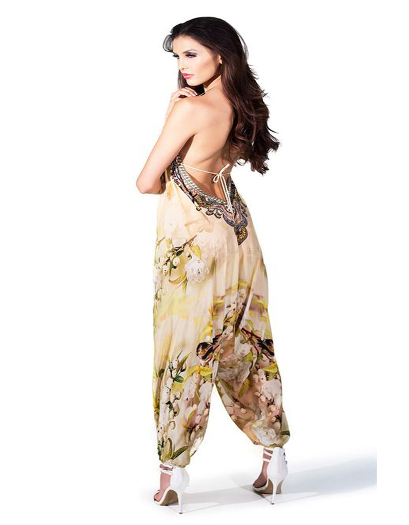 Shahida Parides Cherry Blossom Harem Jumpsuit in White Floral - SWANK - Jumpsuits - 2