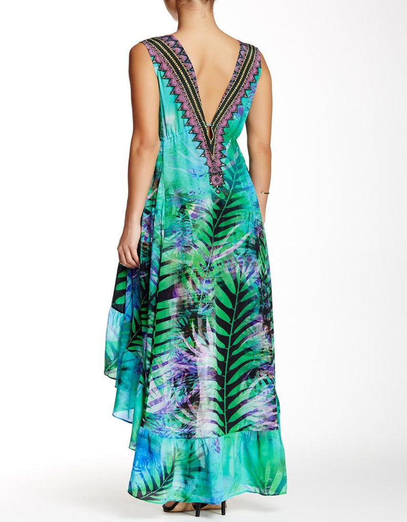 Shahida Parides Queen Palm High-Low Dress with Plunging V-Neck in Aqua - SWANK - Dresses - 3