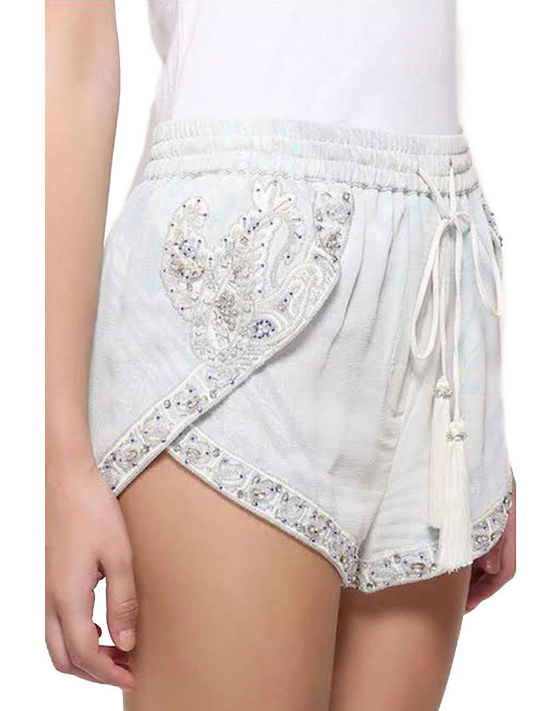 Rococo Sand White Embroidered Shorts - SWANK - Shorts