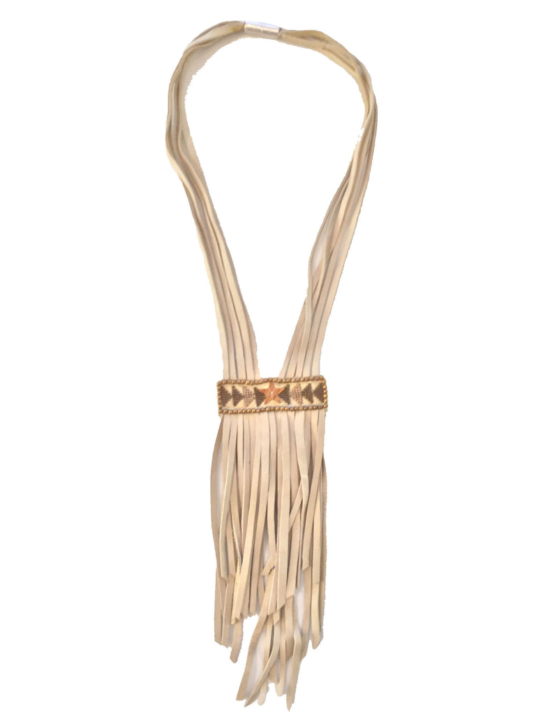 Fiona Paxton Tammy Beaded Statement Leather Fringe Necklace in Gold - SWANK - Jewelry - 1