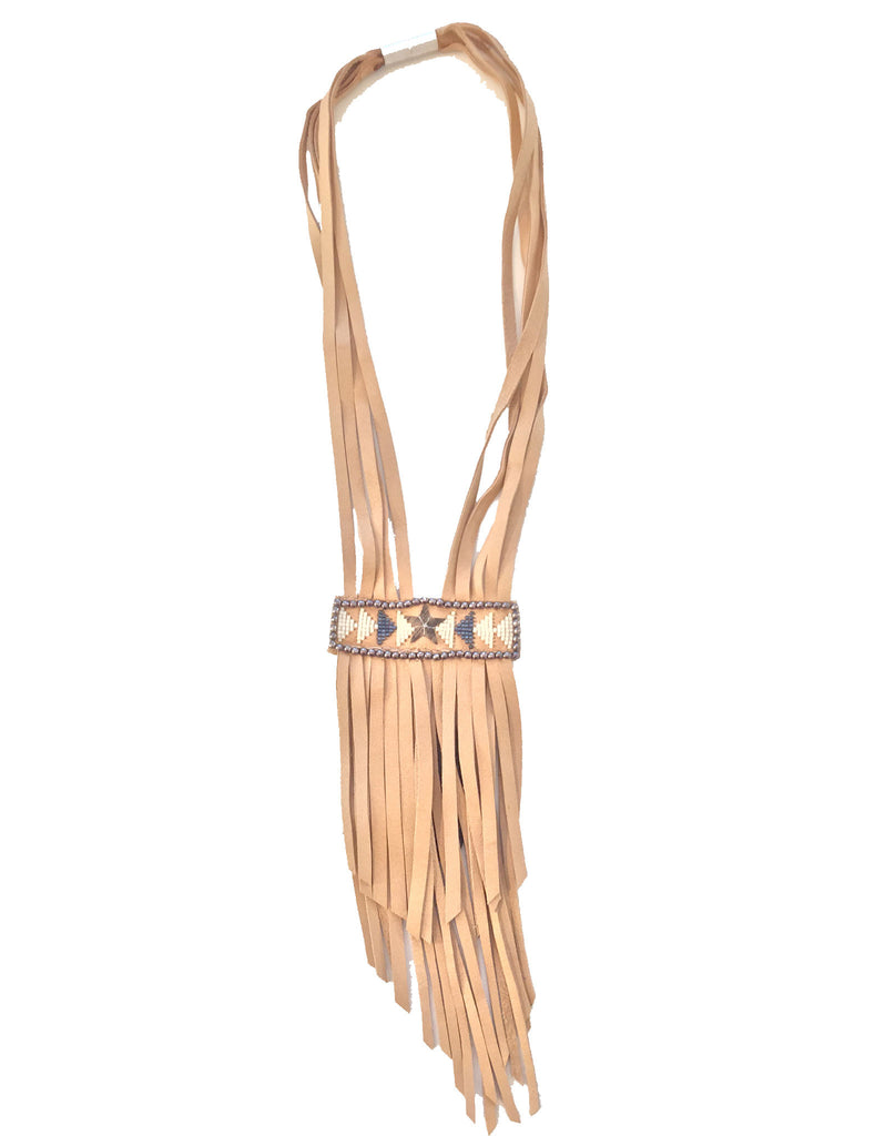 Fiona Paxton Tammy Beaded Statement Leather Fringe Necklace in Oxidized - SWANK - Jewelry - 1