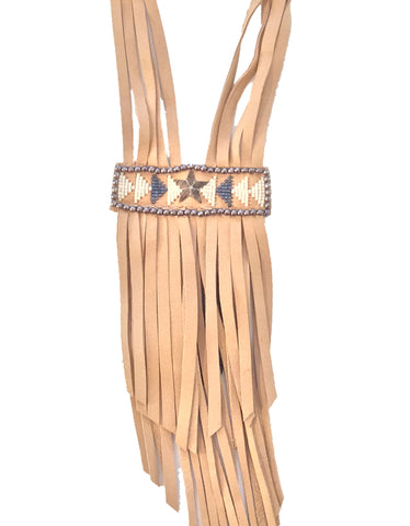 Fiona Paxton Tammy Beaded Statement Leather Fringe Necklace in Oxidized