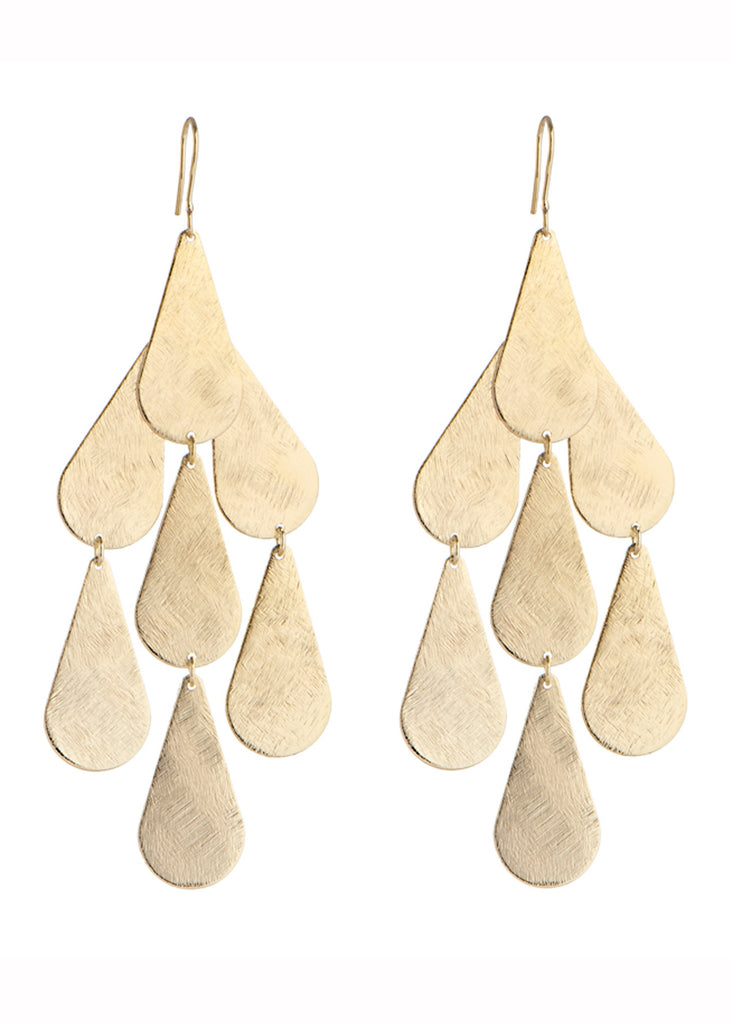 Tear Chandelier Earrings in Gold - SWANK - Jewelry - 1