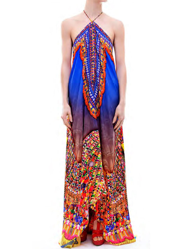 Shahida Parides Heritage 3-Way Style Long Dress in Blue - SWANK - Dresses - 1
