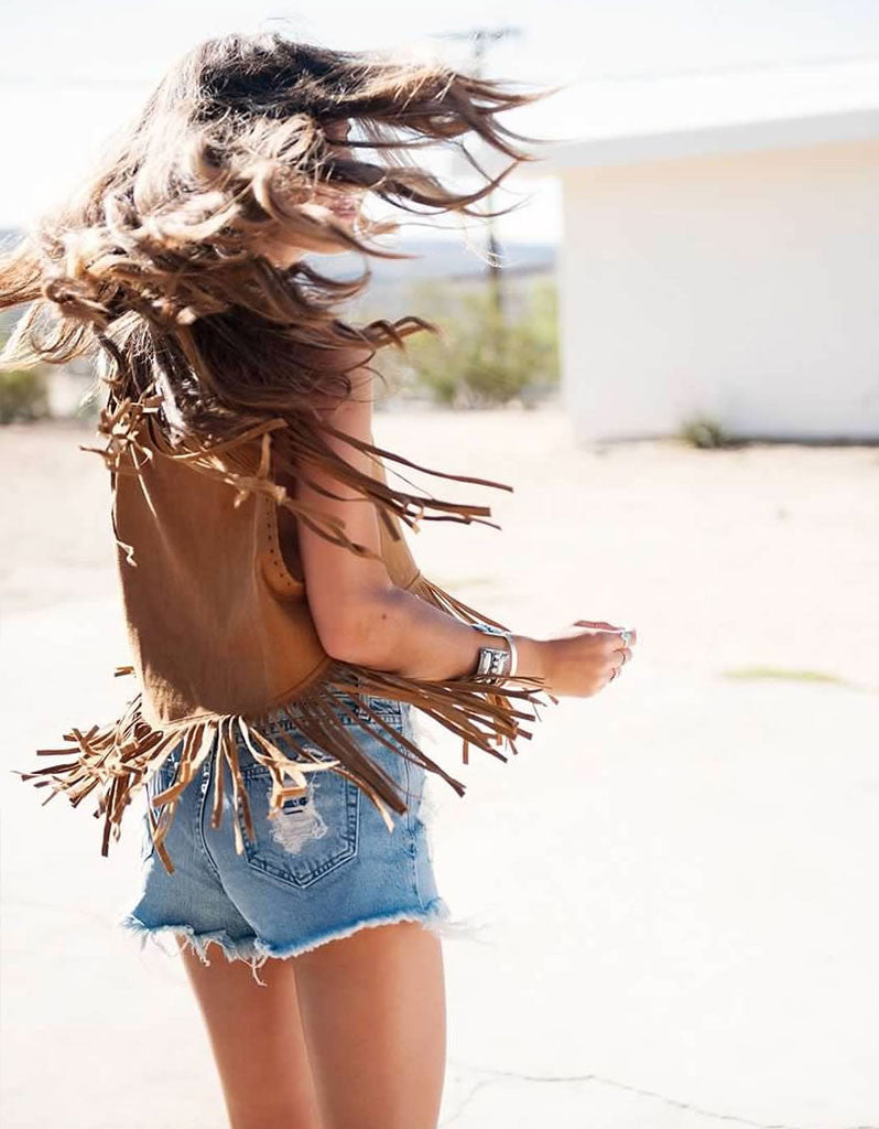 Show Me Your Mumu Wander Fringe Top in Foxy Brown Faux Suede - SWANK - Tops - 2