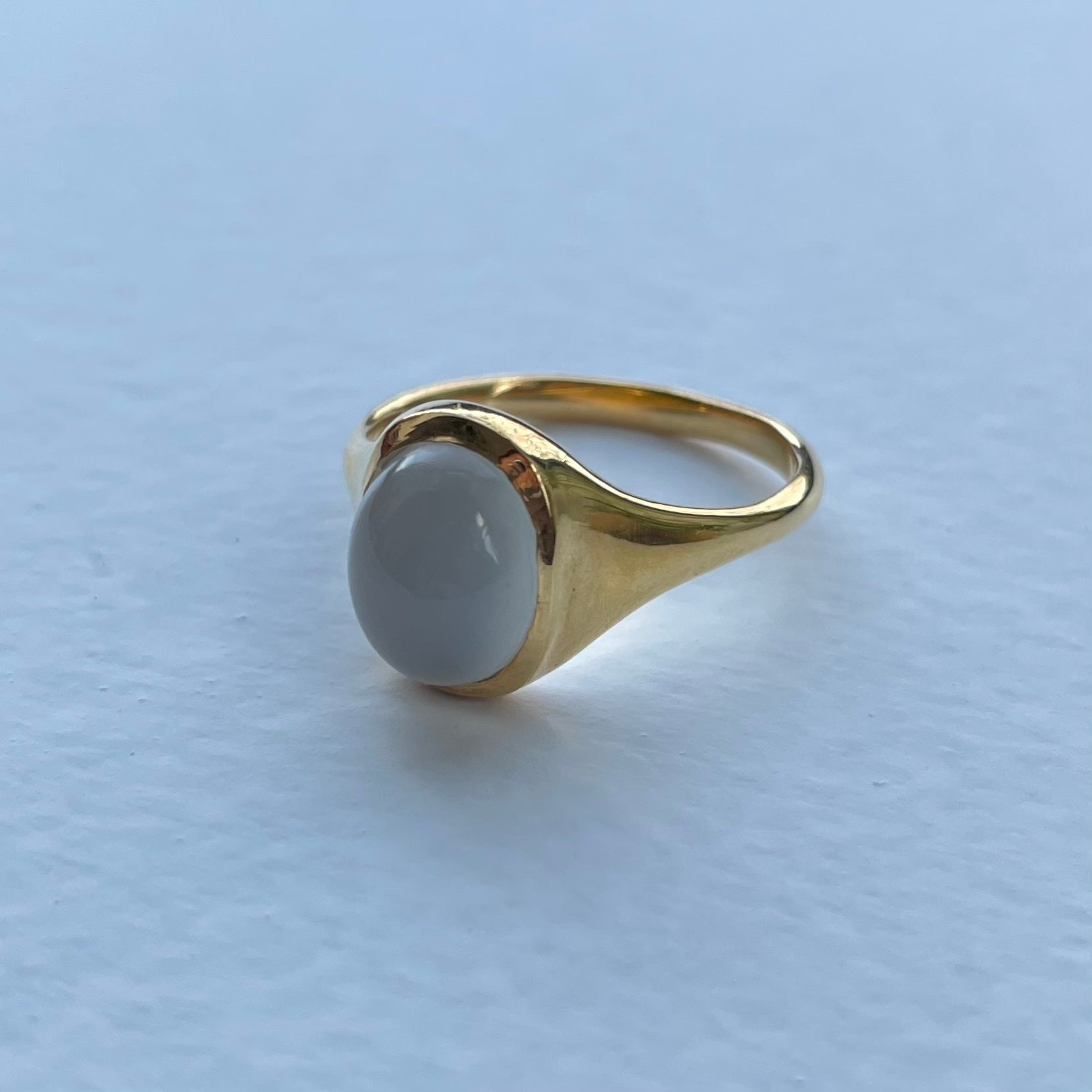 Moonstone Signet Ring // Pearl