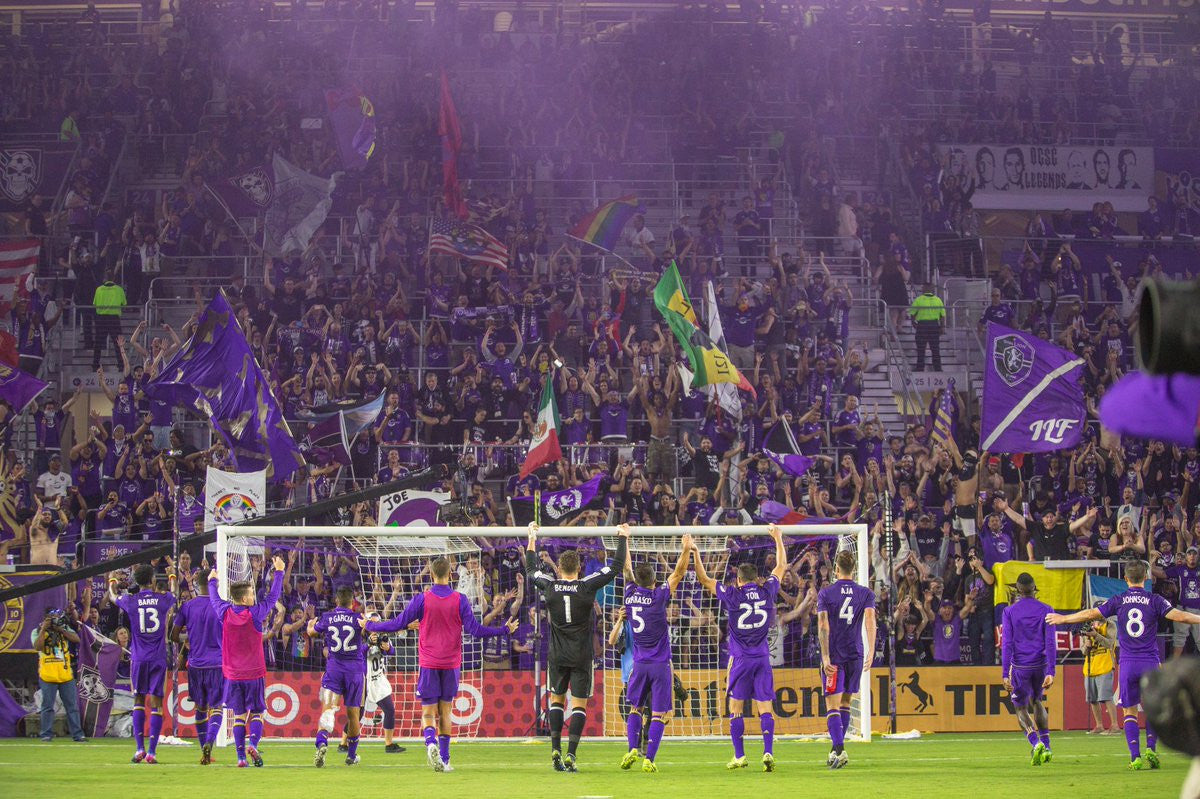 Orlando City players thanking the fans in the Purple Wall after their 1-0 victory over NYCFC on opening weekend of MLS 2017.