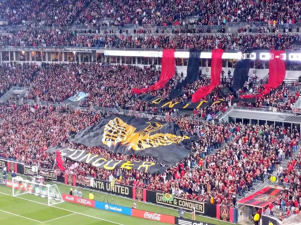 Atlanta United's first tifo in their new stadium before kickoff of their inaugural MLS campaign