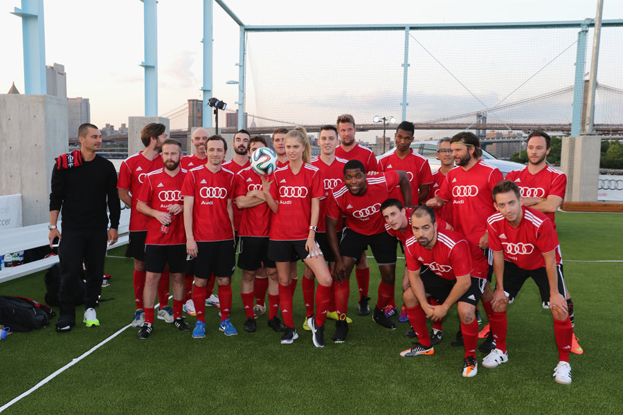 BROOKLYN, NY - JULY 30:  Team Red poses for a photo at the Audi Soccer Pick-Up Game at Pier 2 at Brooklyn Bridge Park on July 30, 2014 in Brooklyn borough of New York City.  (Photo by Neilson Barnard/Getty Images for Audi)