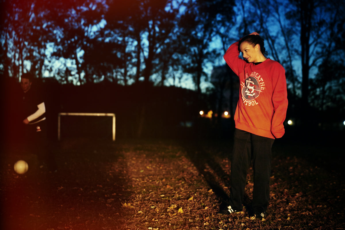 Red Pitch Invaders crew neck sweater