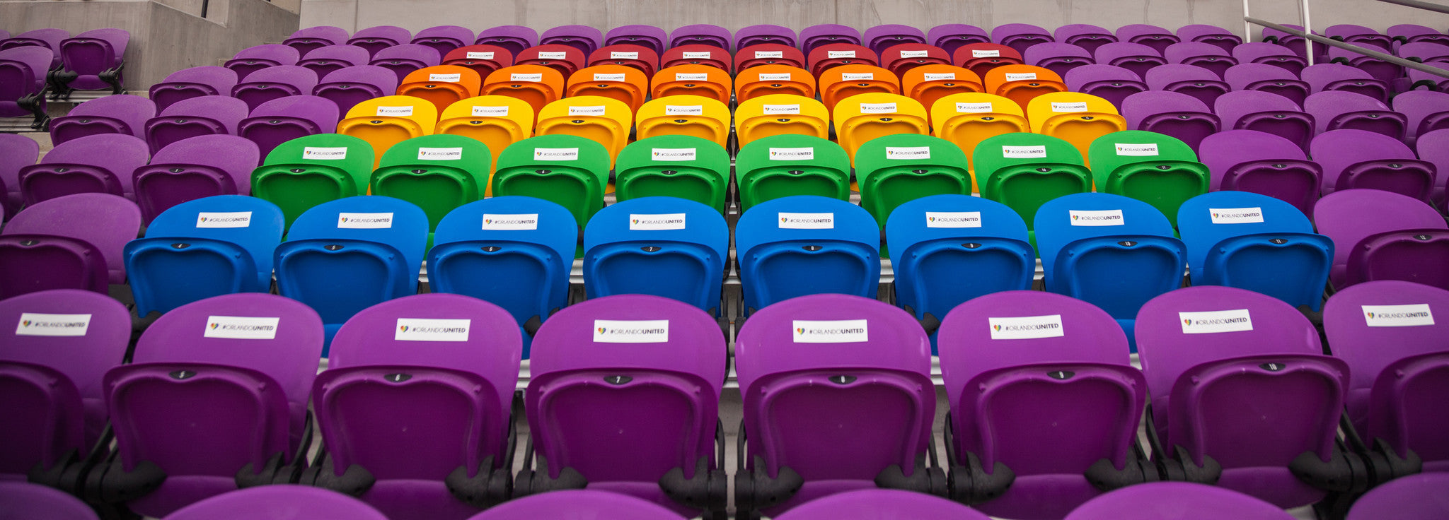 Orlando City honors the Pulse Nightclub victims with dedicated seats in the form of the LBGT flag