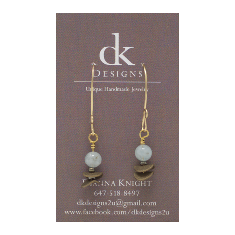Aquamarine and Aged Brass Earrings