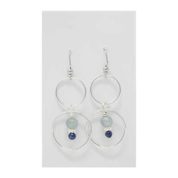 Aquamarine + Lapis Lazuli Earrings