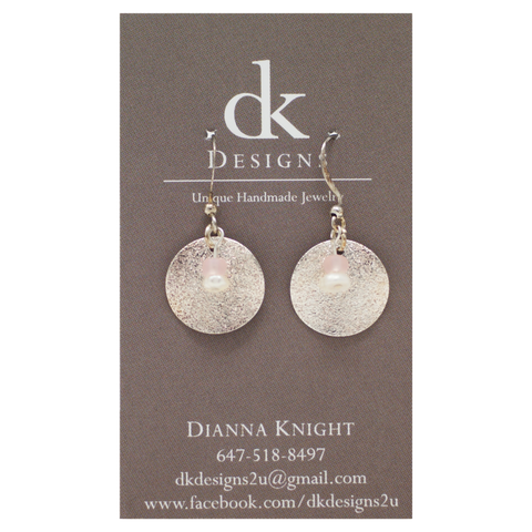 Pink Fresh Water Pearls on Silver Discs