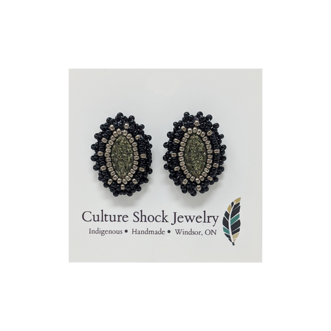Mini Marquis Black Earrings