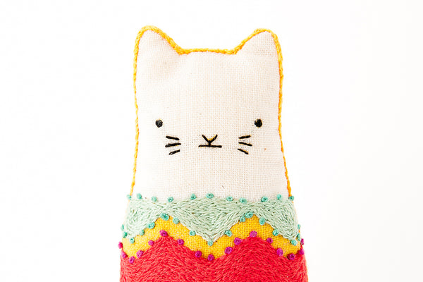 Fiesta Cat DIY Embroidered Doll Kit