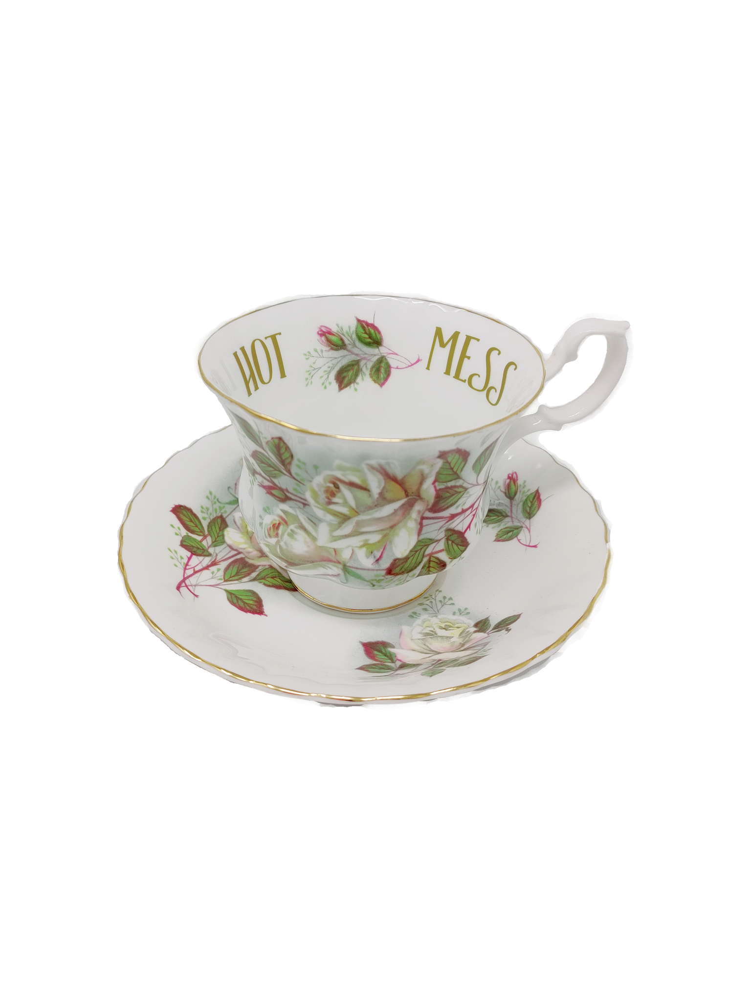 """Hot Mess"" Teacup + Saucer"