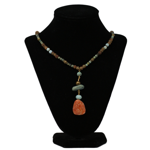Jasper and Aquamarine with Wood Beads and Brass Accents