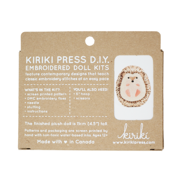 Hedgehog DIY Embroidered Doll Kit